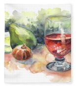 Still Life With Red Wine Glass Fleece Blanket