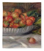Still Life With Strawberries Fleece Blanket