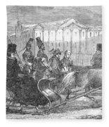 Stockholm: Sleighing, 1850 Fleece Blanket