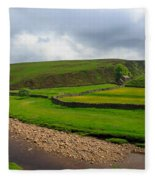 Stone Barn In A Fold Of The Landscape Fleece Blanket
