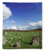 Stone Circles On A Landscape, Beaghmore Fleece Blanket