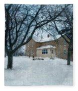 Stone Farmhouse In Winter Fleece Blanket