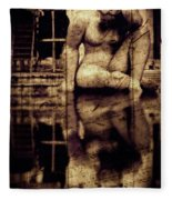 stone in reflexion - Statue reflected in a sea of doubt in vintage process Fleece Blanket