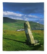 Stone On A Landscape, Ogham Stone Fleece Blanket