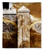 Stone Sight - Two Arches And A Column Draws A Disturbing Almost Human Face Fleece Blanket