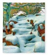 Stone Steps In Winter Fleece Blanket