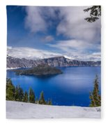 Storm Clearing At Crater Lake Fleece Blanket