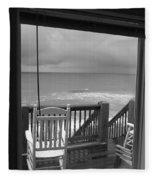 Storm-rocked Beach Chairs Fleece Blanket