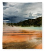 Stormy Grand Prismatic Spring Fleece Blanket