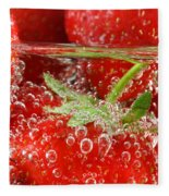Strawberries In Water Close Up Fleece Blanket