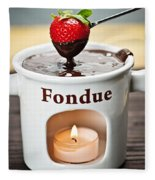 Strawberry Dipped In Chocolate Fondue Fleece Blanket