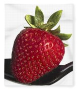 Strawberry On A Black Spoon Against White No.0003 Fleece Blanket
