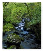 Stream Flowing Through A Forest Fleece Blanket