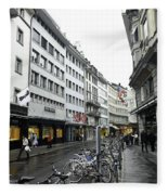 Street In Lucerne With Cycles And Rain Fleece Blanket