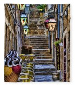 Street Lane In Dubrovnik Croatia Fleece Blanket