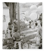 Street Life In Kathmandu Fleece Blanket