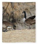 Stretching The Leg Fleece Blanket