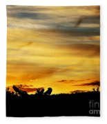 Stripey Sunset Silhouette Fleece Blanket