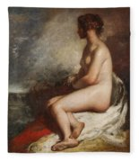 Study Of A Seated Nude Fleece Blanket