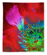 Stylized Flower Center Fleece Blanket