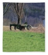 Subsoiler On The Farm  Fleece Blanket