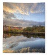 Suburban Sunrise Reflection  Fleece Blanket