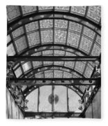 Subway Glass Station In Black And White Fleece Blanket