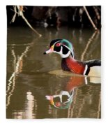 Sucarnoochee River - Suspicious Wood Duck Fleece Blanket