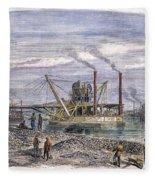 Suez Canal Construction Fleece Blanket