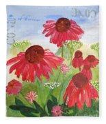Summer Coneflowers Fleece Blanket