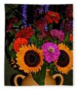Summer Flower Bouquet Fleece Blanket