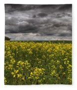 Summer Storm Clouds Over A Canola Field Fleece Blanket