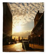 Summer Sunset Over A Cobblestone Street - New York City Fleece Blanket