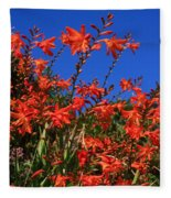 Montbretia, Summer Wildflowers Fleece Blanket