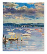 Sun And Clouds In Hudson Fleece Blanket