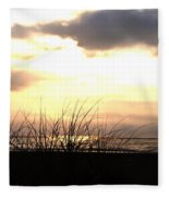 Sun Behind The Clouds On The Beach Fleece Blanket