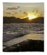 Sun Going Down Over Dubrovnik Fleece Blanket