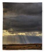 Sun Rays Through Clouds Over Three Old Fleece Blanket