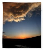 Sun Setting Behind The Horizon In Saskatchewan Fleece Blanket