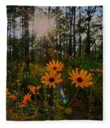 Sunburst On Sunflowers Fleece Blanket