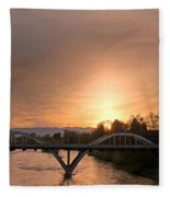 Sunburst Sunset Over Caveman Bridge Fleece Blanket