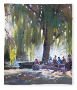 Sunday Afternoon By The Fontain Fleece Blanket