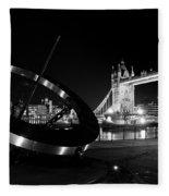 Sundial And Tower Bridge At Night Fleece Blanket