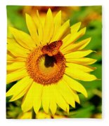 Sunflower And Butterfly Fleece Blanket