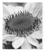 Sunflower Bloom Black And White Fleece Blanket