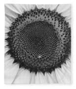Sunflower Center Black And White Fleece Blanket