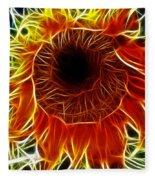 Sunflower Fractal Fleece Blanket