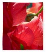 Sunlight On Red Hibiscus Fleece Blanket