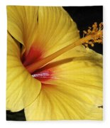 Sunny Yellow Hibiscus Flower Fleece Blanket