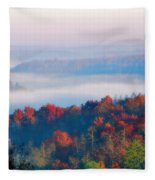 Sunrise And Fog In The Cumberland River Valley Fleece Blanket